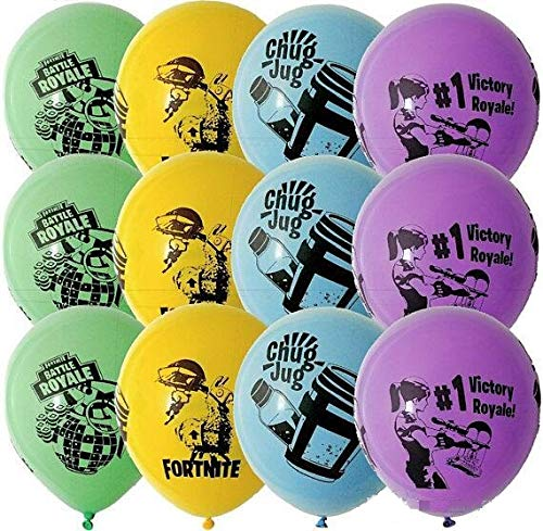Mad Deals FORTNITE Latex Party Balloons x12 (x3 each colour) Battle Royale Party Decorations Party Supplies Multi coloured - Perfect Party Bag favours / fillers,supplies gift