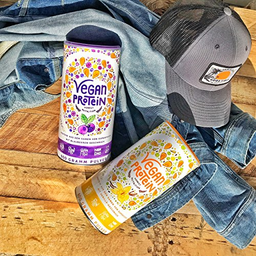 Vegan Protein (Blaubeere) - Protein aus Reis, Hanfsamen, Lupinen, Erbsen, Chia-Samen, Leinsamen, Amaranth, Sonnenblumen- und Kürbiskernen - 600 Gramm Pulver mit natürlichem Blaubeeren Geschmack - 5