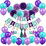 Mermaid Party Decorations, Zerodeko Happy Birthday Banner with Tissue Paper Pom Poms, Latex Balloons, Mermaid Confetti, Glitter Mermaid Party Hats and Cupcake Toppers - Teal Lavender Purple