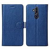 DDJ Nokia 8.1 Hülle,Leder Tasche Flip klappbares Case Cover Standfunktion Kartenfach Magnetverschluß Card Holder kristallklarer TPU Stoßstange Wallet Schutzhülle Handyhülle für Nokia 8.1 (Blau)