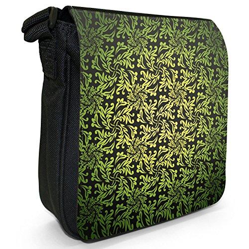 Carta da parati, motivo floreale elegante borsa a tracolla in tela, piccola, colore: nero, taglia: S Nero (giallo)