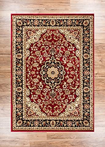 Noble tapis persan traditionnel, vert médaillon 200 x 290 cm facile à nettoyer et résistant aux taches. Résiste à la décoloration, tapis traditionnel contemporain moderne pour salon, salle à manger, Red, 120 x 160 cm