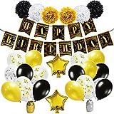 KUNGYO Decorazioni Compleanno per Feste - Buon Compleanno Anni 20 Articoli, Oro Nero Striscione Happy Birthday Banner, Coriandoli Nastri Fiori di Carta Pompon, Palloncini Mylar, Tema di Gatsby