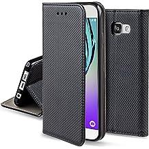 Coque Samsung Galaxy A3 2016 a rabat Noir - Housse Étui fin Smart magnétique de Moozy® avec Stand pliant et support de téléphone en silicone
