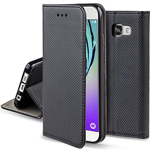 Moozy Cover Custodia a Libro per Samsung A5 2016, Nero - Flip Smart Magnetica con Funzione di Appoggio