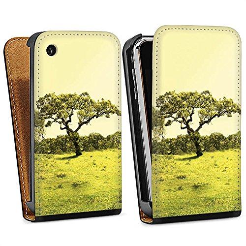 Apple iPhone 4 Housse Étui Silicone Coque Protection Arbre Paysage Prairie Sac Downflip noir