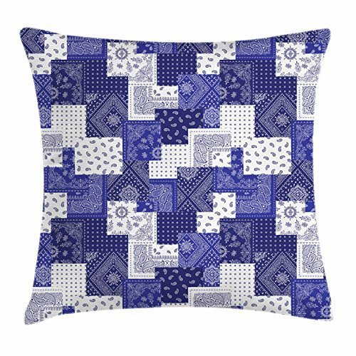 Hat family Patchwork Throw Pillow Cushion Cover, Eastern Inspirations Canonical Paisley and Floral Composition Squares, Decorative Square Accent Pillow Case, 18 X 18 Inches, Dark Blue Cobalt Blue