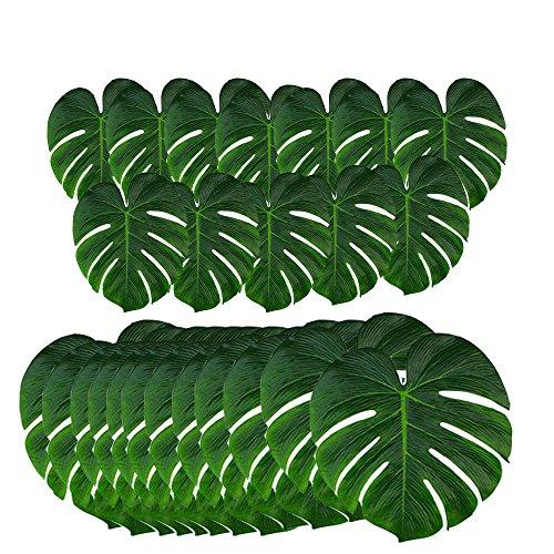 Dohuge 24 Stück Tropical Palm Blätter Tropische Blätter Künstliche Monstera Pflanzenblätter Dschungel Strand Thema Party Hochzeit Thema Dekorationen Tischdekoration Lieferungen Palme Blätter