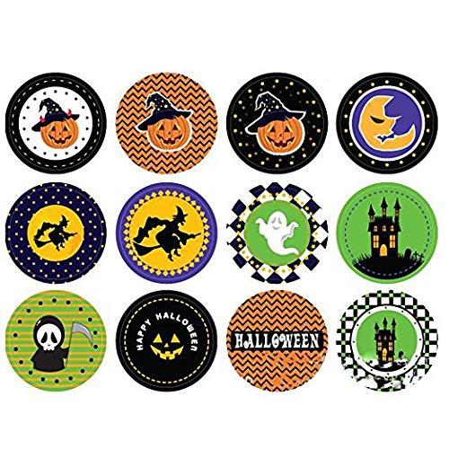 (Qsoleil Schreckliche Geräte 5 Blätter Halloween Thema DIY Aufkleber Cartoon Aufkleber Etiketten Süßigkeiten Kuchen Paket Aufkleber Geschenk Dekor)