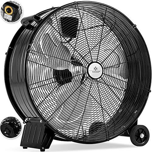KESSER® KE-60 Industrie Ventilator Trommelventilator | Windmaschine | Bodenventilator | Hallenlüfter | Ø60 cm | (24\') Trommelgebläse | Industrieventilator | Standventilator | Hallenkühlung 160 Watt