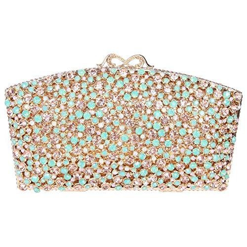 Santimon Donee Clutch Borsellini Bling Colorato Diamante Lusso Strass Borse Da Festa di Nozze Sera Con Tracolla Amovibile 6 Colori verde