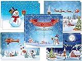10 lustige Weihnachtskarten für Familien mit Kindern - 5 verschiedene Schneemann-Motive x 2 St, liebevoll gemalte naive Kunst