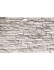 Muralla blanca, ópticas de piedra fotomurales -imagen de l a pared- piedras decoración de La pared by GREAT ART (210 x 140 cm)