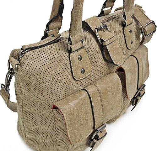 MIYA BLOOM, Damen Handtaschen, Schultertaschen, Henkeltaschen, Umhängetaschen, 40 x 28,5 x 18 cm (B x H x T), Farbe:Anthrazit Sand