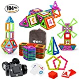 Magnetic Building Blocks SONi 104 PCS Magnetic Tiles Kids STEM Educational Construction Stacking Toys with Vehicle Wheel and Intelligent Cards