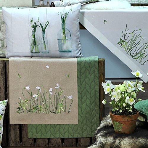 Sander Frühjahr Tischläufer WHITE & GREEN, 40x100 cm, Farbe 19- sand/beige