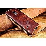 Original Akira Hand Made [Echt Leder] Handyhülle Samsung Galaxy S5 Mini Limited Wallet Flip Cover Handgemacht Case Schutzhülle Etui Flip Wallet Pen [DEUTSCHER FACHHANDEL] Braun