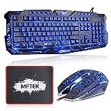 Gaming Tastatur und Maus Set (Deutsches Tastaturlayout, QWERTZ) - MFTEK USB verdrahtete LED 3 Farben (Blau/Rot/Purpur) Backlit Luminous Gaming Tastatur und Maus Combo