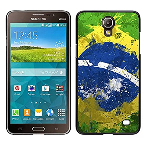 MDMG / Snap On Hartschalen-Case Schutzhülle Hülle - Weinlese-Brasilien-Flagge - Samsung Galaxy Mega 2