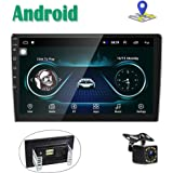 Android Car Stereo GPS Navigation Radio Player Camecho 2 Din 10'' Touch Screen Bluetooth WIFI FM Receiver Mobile Phone Mirror Link with Dual USB + Backup Camera