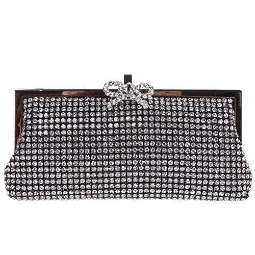 Santimon Donna Pochette Borsa Bling Bowknot Blocco Lusso Diamante Cristallo A Forma di Ventaglio Blocco Bacio Borsellini Borsetta Con Tracolla Amovibile nero