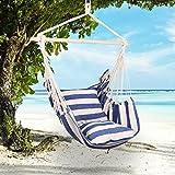 Holifine Hängesessel mit 2 Kissen 120 x 150 cm Garten Hängestuhl XL Balkon Aufhängung Hängesitz für Drinnen + Draußen inkl. Querstab aus Holz - Blaue und Weiße Streifen
