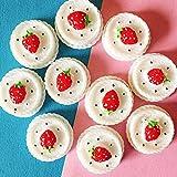 SANHOC 10 Pezzi di ciliegio Torta di Fragole/Dessert/Crema/Miniature Cibo/Carino/Fairy Garden GNOME/Muschio terrario/Bonsai/Bambola casa Arredamento