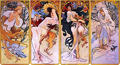 Das Museum Outlet-Vier Jahreszeiten von Alfons Mucha, circa 1895-A3Poster -