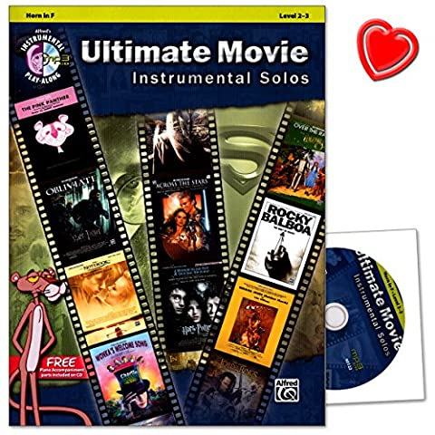 Ultimate Movie Instrumental Solos for Horn (F) - Free Piano Accompaniment Parts Included on CD - Notenbuch mit CD und bunter herzförmiger Notenklammer