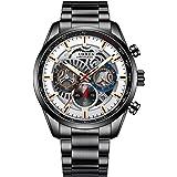 AZPINGPAN Montre-bracelet pour hommes d'affaires, montres pour hommes en acier inoxydable chronographe montre étanche pour ho