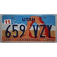 Nummernschild UTAH Centennial US License Plate // USA Kennzeichen Steinbogen Motiv Blechschild