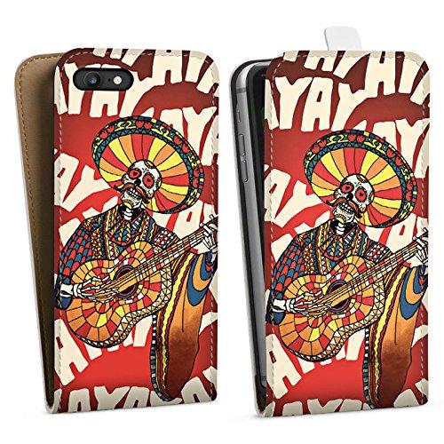 Apple iPhone X Silikon Hülle Case Schutzhülle Mariachi Totenkopf Gitarre Downflip Tasche weiß