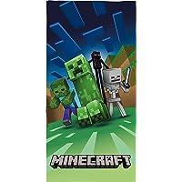 Familando Badetuch Minecraft Motiv Creep Craft Blöcke TNT Spitzhacke Battle Blau 100% Baumwolle Strandlaken Dusch-Tuch…