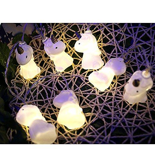 ette Einhorn LED Streifen Kürbis Halloween Deko Flamingo Party Dekoration Batteriebetrieben (Weißes Einhorn) ()