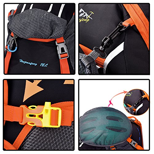 Ultralight Bicycle Backpack Bike Water Resistant Rucksack Breathable for Outdoor Sports Hiking Cycling Shoulder Bag 18L Orange
