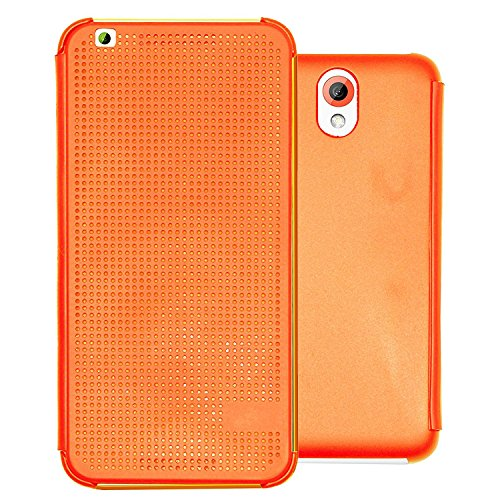 Heartly Dot View Touch Sensative Flip Thin Hard Shell Premium Bumper Back Case Cover For HTC Desire 620 620G 820 Mini Dual Sim - Mobile Orange