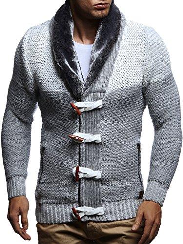 d5a228a8f60167 LEIF NELSON Herren Strickjacke Jacke Pullover Hoodie Langarm Sweatjacke Sweater  Schalkragen Strick LN5370  Größe S