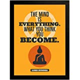 Interio Crafts Lord Buddha Motivational Quote Framed Poster for Home and Office Wall Decoration (Synthetic Wood, Frame Size :