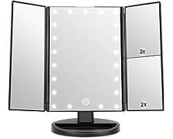 Miroir de Maquillage, WEILY 1x / 2X / 3X Miroir de Maquillage à Trois Volets avec 21 lumières LED et Miroir réglable à écran