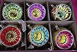 6 er Christbaumschuck Set Reflexkugeln 8 cm, nostalgischer Christbaumschmuck Gold, Grün Handarbeit, Mundgeblasen Lauscha