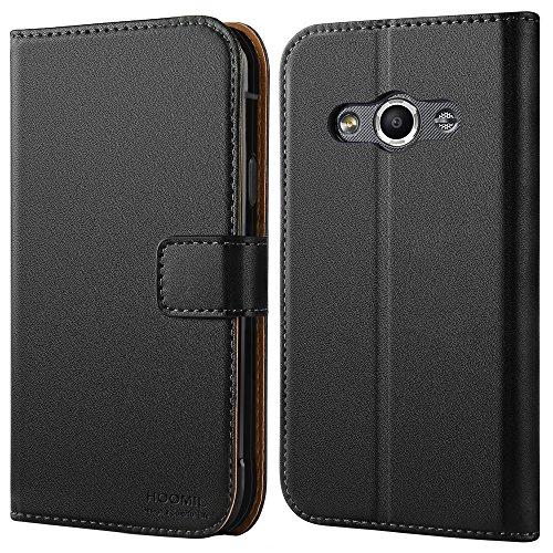 Coque Samsung XCover 3, HOOMIL Housse en Cuir Premium Flip Case Portefeuille Etui Coque pour Samsung Galaxy XCover 3 (H3054, Noir)