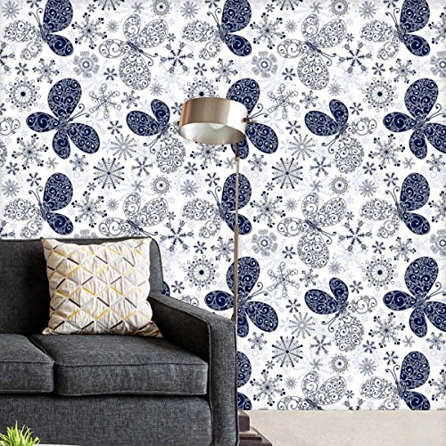 AZ Snowflakes & Butterflies Self-Adhesive Peel & Stick PVC Vinyl Wallpaper 40 x 216inch; Area 60sq.ft (Butterfly Top Peeling)