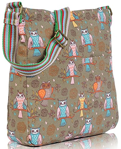 Kukubird Various Animals & Patterns Print Canvas Crossbody Bag Variety Owl - Grey