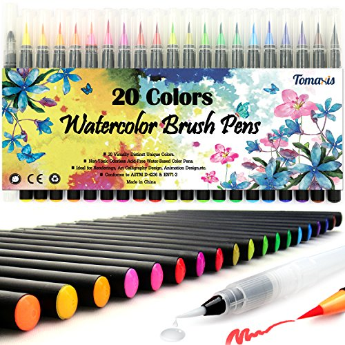 Pinselstift-Set Pinselstiften Aquarellpinsel Brush Pen Set Wassеrtankpinsеl Stifte mit variabler Spitze für Malen Zeichnen Fasermaler Handlettering, Zendoodle, Kalligrafie Mangas 20er Pinselset
