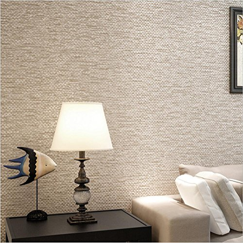 HM Wallpaper Non Woven Solid Color Modern Simple Decoration Bedroom TV Wall Living Room 53 Cm W 10 ML Light Brown