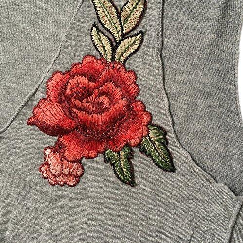 LAEMILIA Damen Boho Top Bustier Bra Stickerei Rosa Shirt Ärmellos Schwarz Casual Oberteil Hemd Tops Tank Träger-Top Mode O-Ansatz Vintage Grau