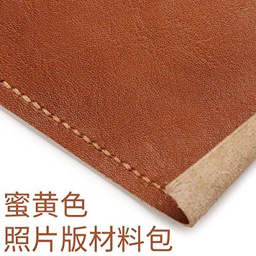 HOOM-Homme sac à main en cuir fait main bricolage créatif wallet purse,couleur kaki b Yellow