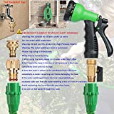 Suplong Expandable Garden Water Hose Pipe- 8-Pattern Spray Gun Anti-leakage with Brass Fittings &Hose Hook/Hanger 100FT Magic-hose pipes by (Green)