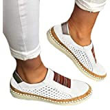 Scarpe da Corsa in Pelle da Donna Sneakers Senza Lacci Scarpe Sportive vuote Morbide Antiscivolo Piatte Antiurto