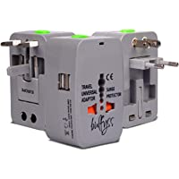 Bulfyss Universal Travel Adapter with Built in Dual USB Charger Ports with 125V 6A, 250V (Grey)